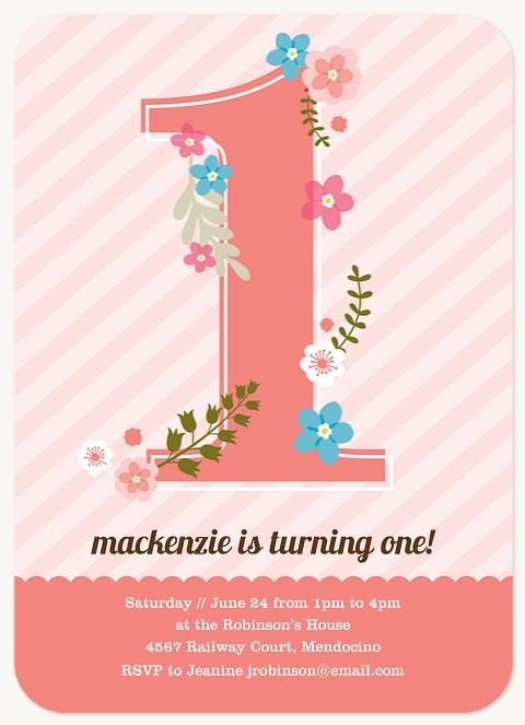 Pretty Florets Kids Birthday Invitations