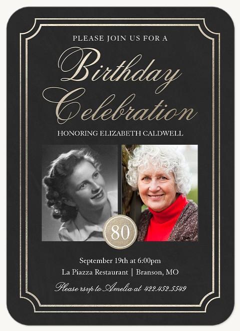 Elegant Glamour Adult Birthday Party Invitations