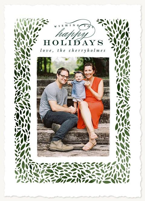 Boxwood Wreath Photo Holiday Cards