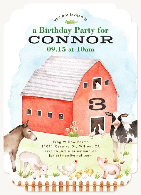Barnyard Friends Kids Birthday Invitations