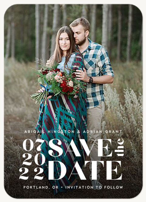 Boldly Stacked Save the Date Cards