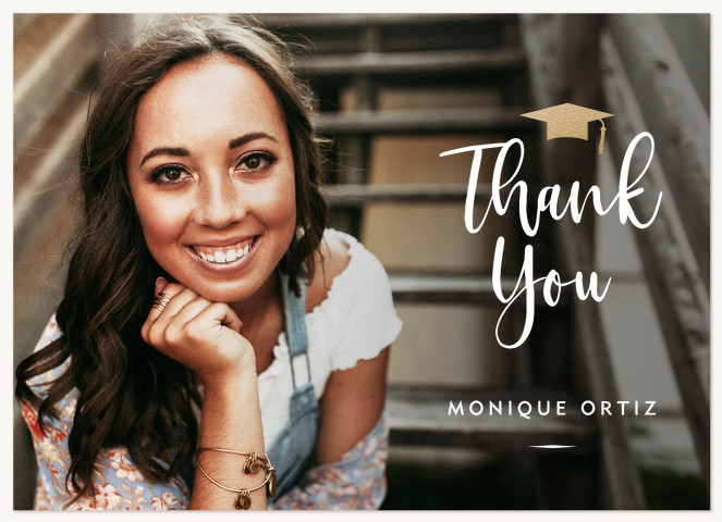Gilded Mortarboard Thank You Cards