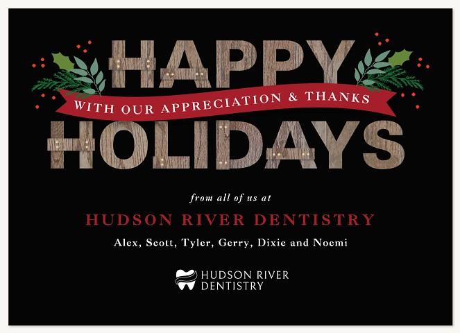 Festive Woodgrain Business Holiday Cards